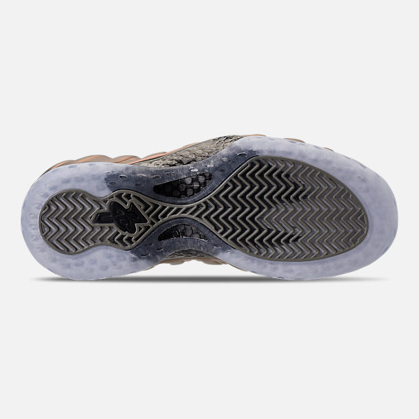 Bottom view of Women's Nike Air Foamposite 1 Casual Shoes in Dark Stucco/Dark Stucco/Black