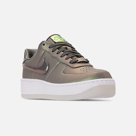 Three Quarter view of Women's Nike Air Force 1 Upstep Premium LX Casual Shoes in Dark Stucco/Dark Stucco/White