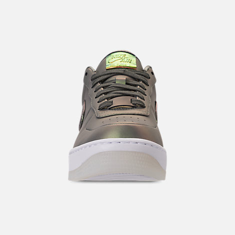 Front view of Women's Nike Air Force 1 Upstep Premium LX Casual Shoes in Dark Stucco/Dark Stucco/White