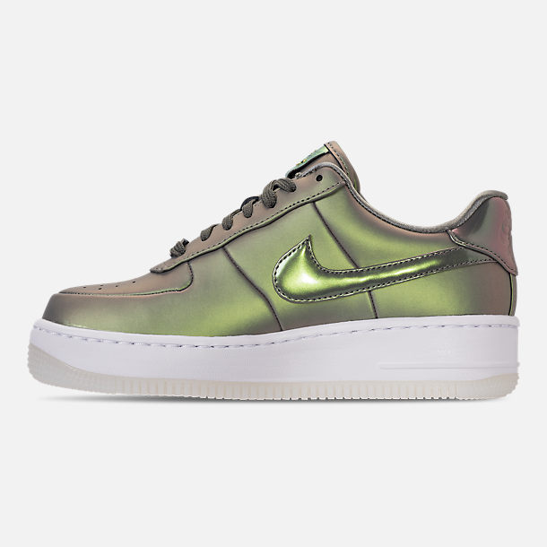Left view of Women's Nike Air Force 1 Upstep Premium LX Casual Shoes in Dark Stucco/Dark Stucco/White