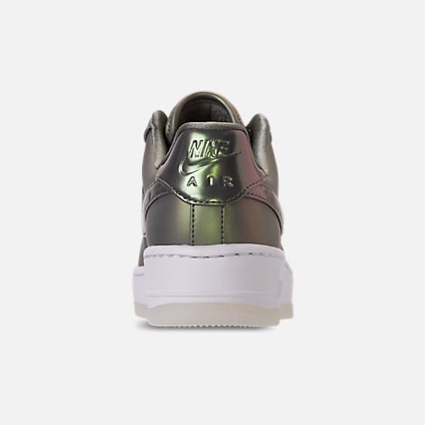 Back view of Women's Nike Air Force 1 Upstep Premium LX Casual Shoes in Dark Stucco/Dark Stucco/White