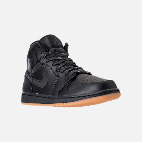 Three Quarter view of Men's Air Jordan 1 Mid Winterized Shoes in  Black/Anthracite/