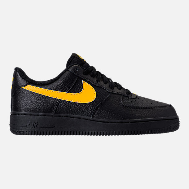 Right view of Men's Nike Air Force 1 '07 Casual Shoes in Black/Amarillo