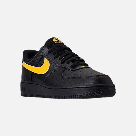 Three Quarter view of Men's Nike Air Force 1 '07 Casual Shoes in Black/Amarillo
