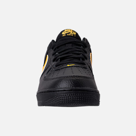 Front view of Men's Nike Air Force 1 '07 Casual Shoes in Black/Amarillo