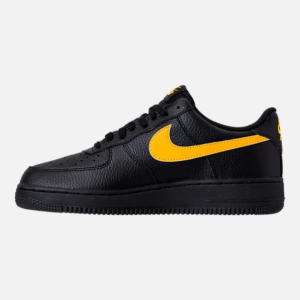 Left view of Men's Nike Air Force 1 '07 Casual Shoes in Black/Amarillo