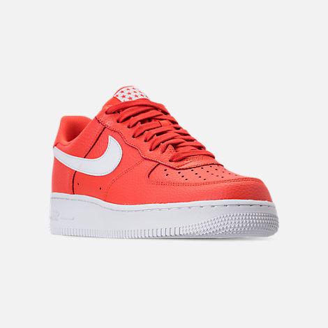 Three Quarter view of Men's Nike Air Force 1 '07 Casual Shoes in Team Orange/White