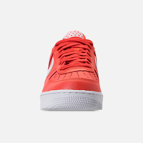Front view of Men's Nike Air Force 1 '07 Casual Shoes in Team Orange/White
