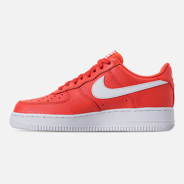 Left view of Men's Nike Air Force 1 '07 Casual Shoes in Team Orange/White