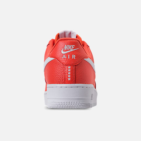 Back view of Men's Nike Air Force 1 '07 Casual Shoes in Team Orange/White