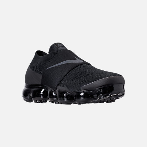 Three Quarter view of Women's Nike Air VaporMax Flyknit MOC Running Shoes in Black/Black