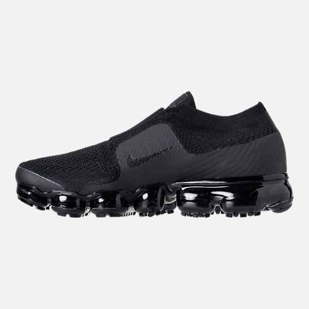 Left view of Women's Nike Air VaporMax Flyknit MOC Running Shoes in Black/Black