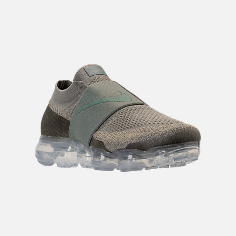 Three Quarter view of Women's Nike Air VaporMax Flyknit MOC Running Shoes in Dark Stucco/Clay Green/Neutral Olive