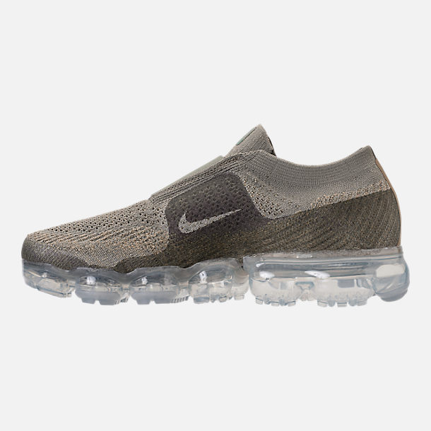 Left view of Women's Nike Air VaporMax Flyknit MOC Running Shoes in Dark Stucco/Clay Green/Neutral Olive