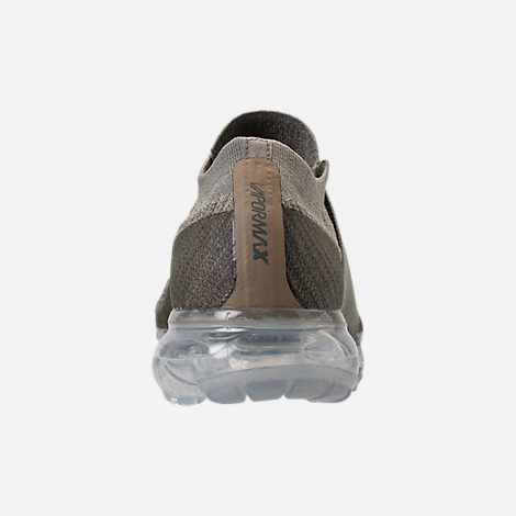 Back view of Women's Nike Air VaporMax Flyknit MOC Running Shoes in Dark Stucco/Clay Green/Neutral Olive