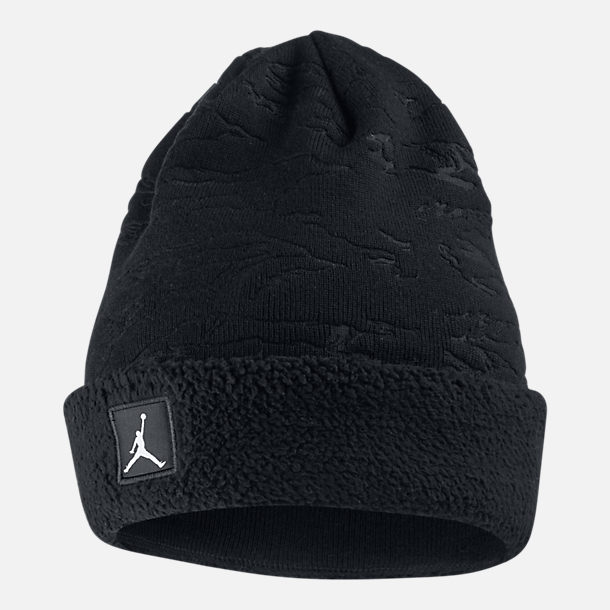Front view of Jordan Cuffed Sherpa Beanie in Black/Black
