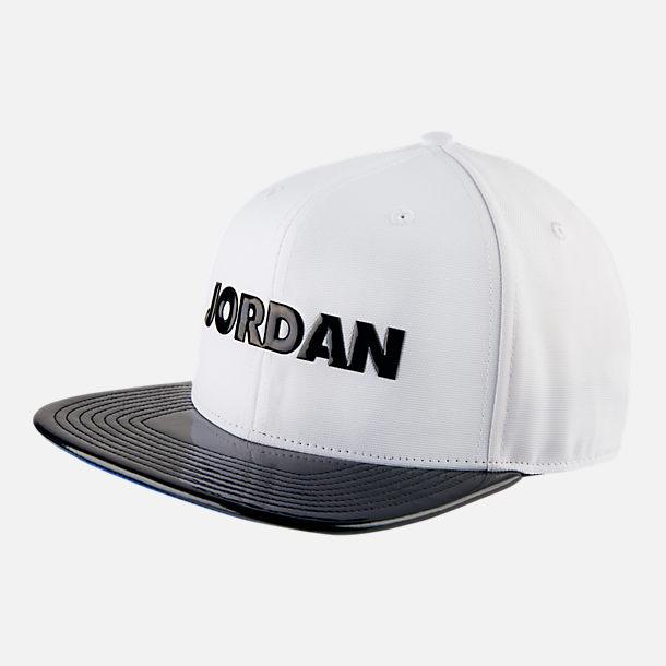 Front view of Men s Jordan Pro Air Jordan 11 Snapback Hat in White Black  305ca3bff75