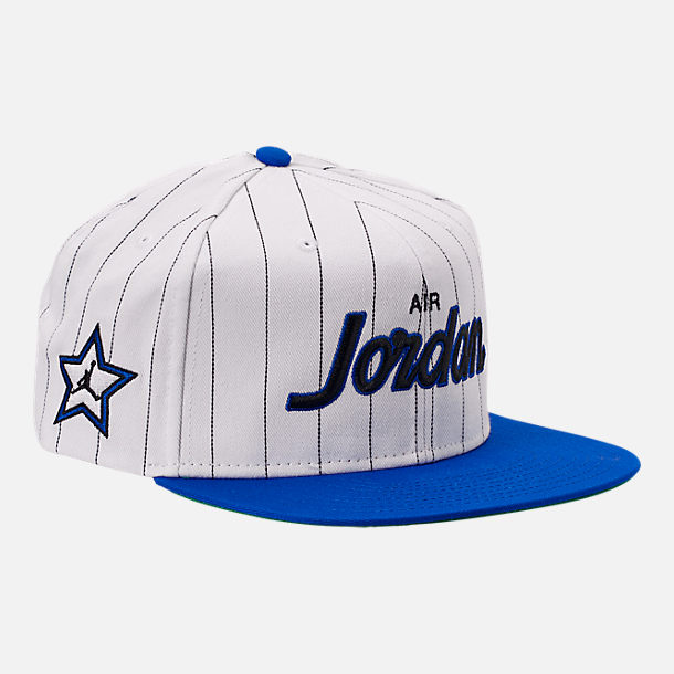 Front view of Air Jordan Retro 10 Pro Script Star Snapback Hat in White/Royal Blue
