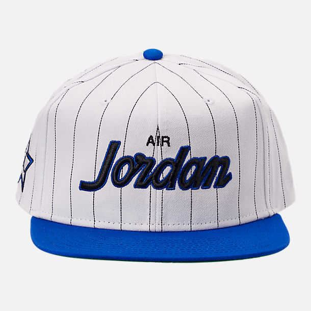 Back view of Air Jordan Retro 10 Pro Script Star Snapback Hat in White/Royal Blue