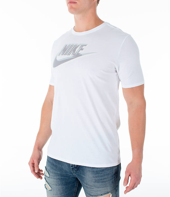 Front Three Quarter view of Men's Nike Sportswear Futura T-Shirt in White/Yellow Ochre