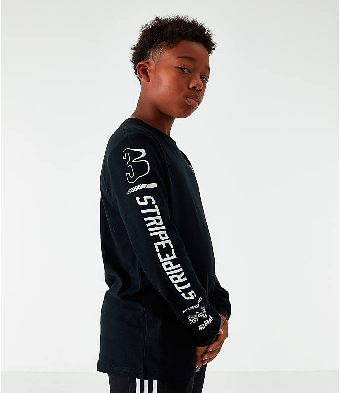 Back Left view of Boys' adidas Collage Long-Sleeve T-Shirt in Black/White