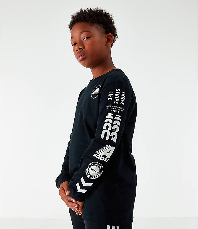 Back Right view of Boys' adidas Collage Long-Sleeve T-Shirt in Black/White