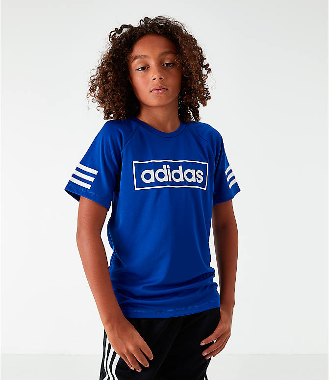 Front view of Little Kids' adidas Linear Raglan T-Shirt in Royal Blue