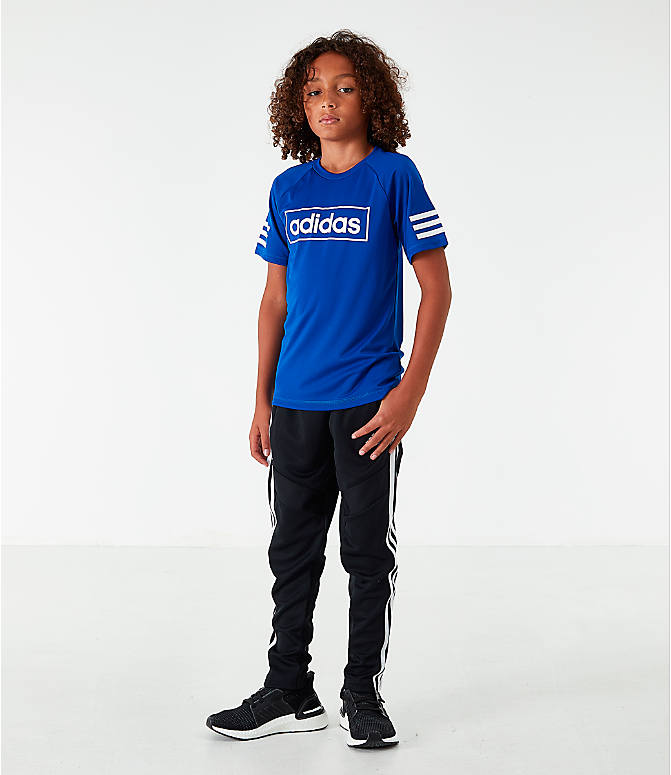 Front Three Quarter view of Little Kids' adidas Linear Raglan T-Shirt in Royal Blue