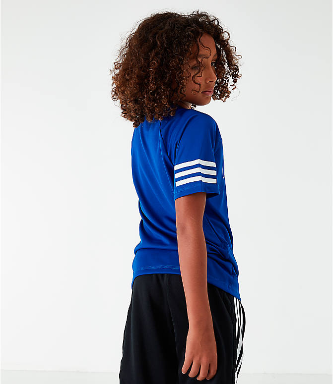 Back Left view of Little Kids' adidas Linear Raglan T-Shirt in Royal Blue