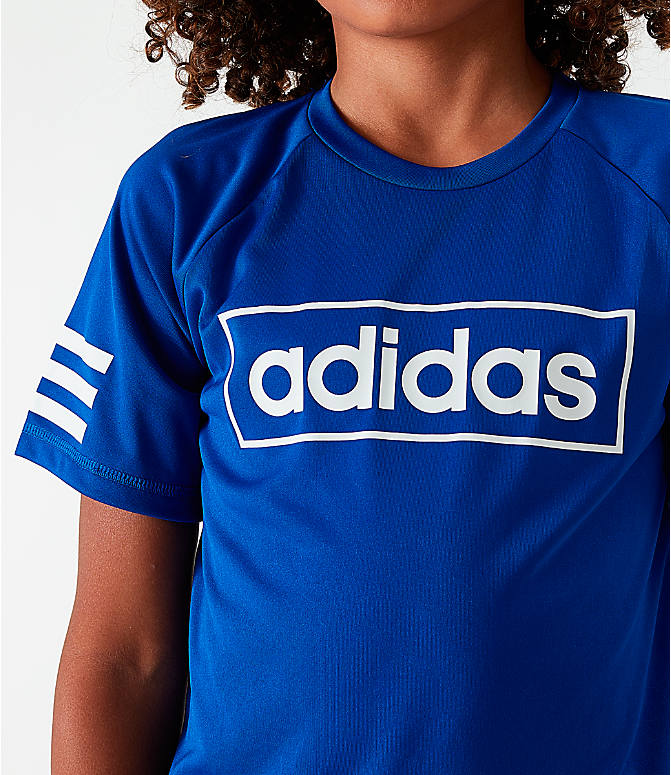 Back Right view of Little Kids' adidas Linear Raglan T-Shirt in Royal Blue