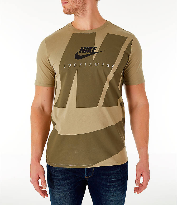 Front view of Men's Nike Sportswear Oversized Logo T-Shirt in Olive