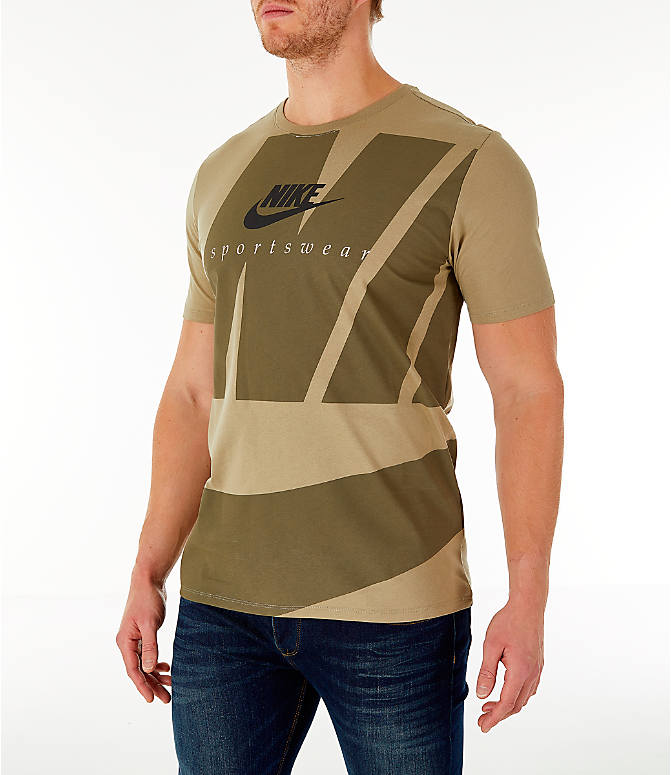 Front Three Quarter view of Men's Nike Sportswear Oversized Logo T-Shirt in Olive