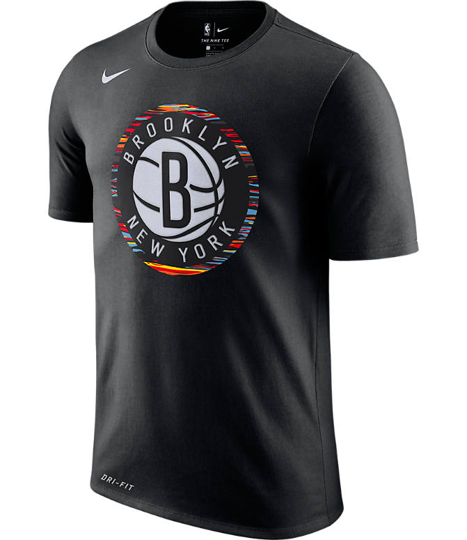Front view of Men's Nike Brooklyn Nets NBA Dry City Edition T-Shirt in Black