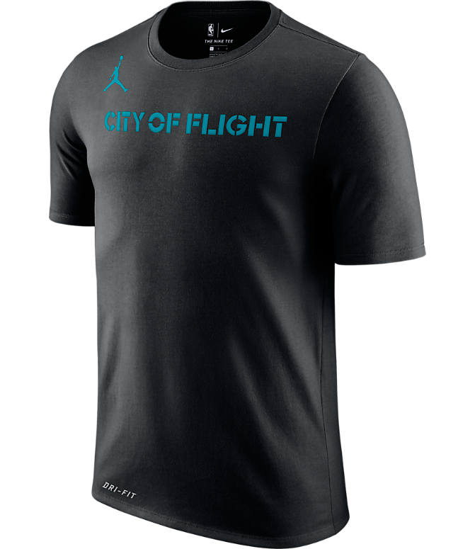 Front view of Men's Nike Charlotte Hornets NBA Dry City Edition T-Shirt in Black