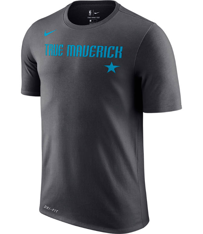 Front view of Men's Nike Dallas Mavericks NBA Dry City Edition T-Shirt in Anthracite