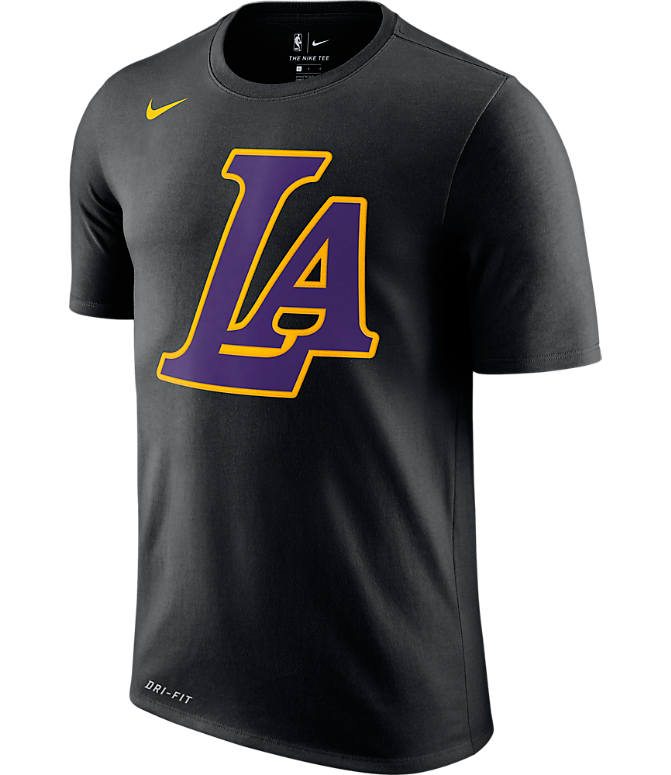 Front view of Men's Nike Los Angeles Lakers NBA Dry City Edition T-Shirt in Black