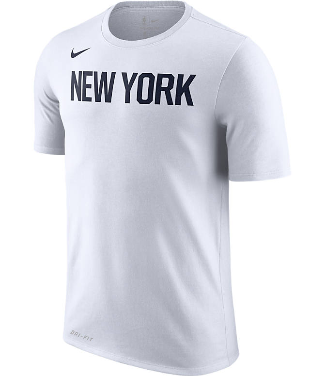 Front view of Men's Nike New York Knicks NBA Dry City Edition T-Shirt in White