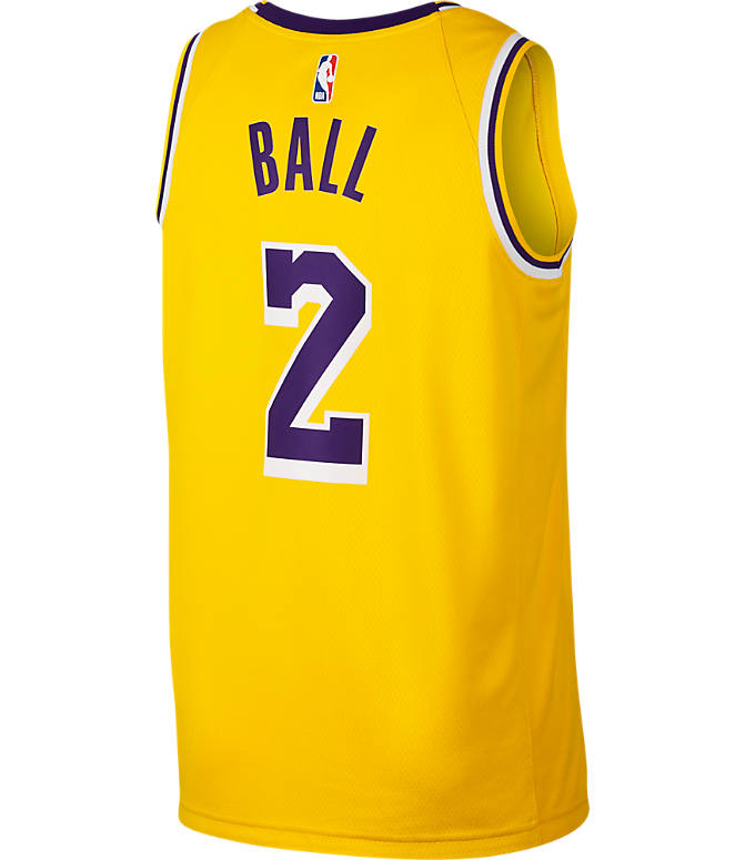 Front view of Men's Nike Los Angeles Lakers NBA Lonzo Ball Icon Edition Connected Jersey in Amarillo