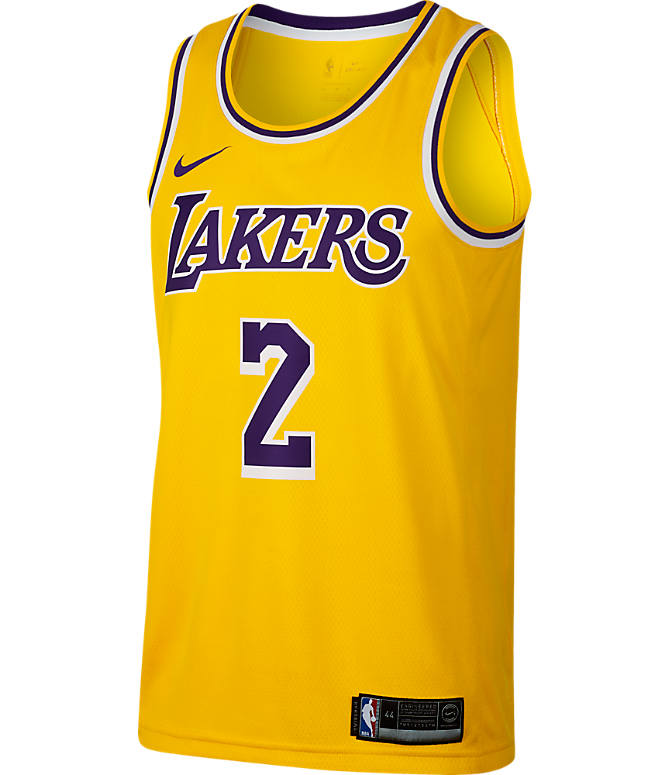 Back view of Men's Nike Los Angeles Lakers NBA Lonzo Ball Icon Edition Connected Jersey in Amarillo