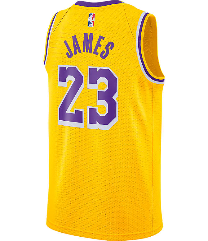 Front view of Men's Nike Los Angeles Lakers NBA LeBron James Icon Edition Connected Jersey in Amarillo