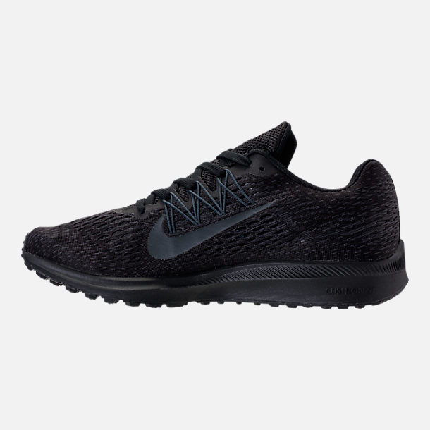 Left view of Men's Nike Air Zoom Winflo 5 Running Shoes in Black/Anthracite