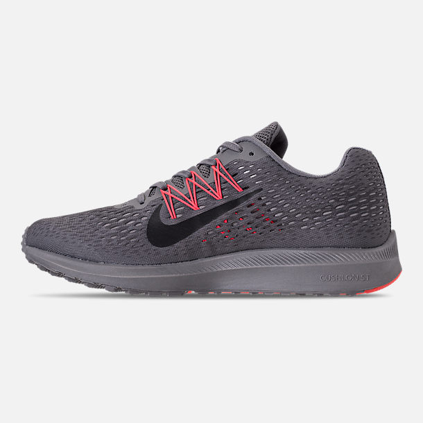 Left view of Men's Nike Air Zoom Winflo 5 Running Shoes in Gunsmoke/Oil Grey/Thunder Grey