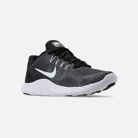 ec593530c4a Three Quarter view of Women s Nike Flex RN 2018 Running Shoes in Black White