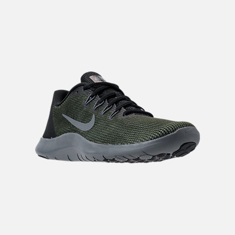 Three Quarter view of Women's Nike Flex RN 2018 Running Shoes in Black/Dark Grey/Anthracite