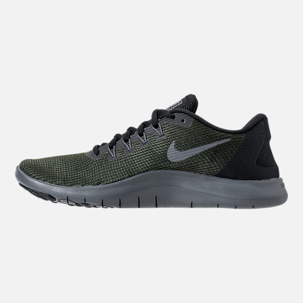 Left view of Women's Nike Flex RN 2018 Running Shoes in Black/Dark Grey/Anthracite