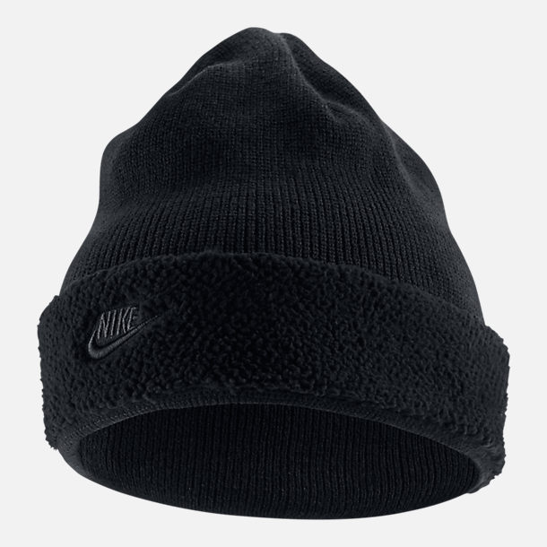 Front view of Nike Sportswear Sherpa Beanie in Black/Black