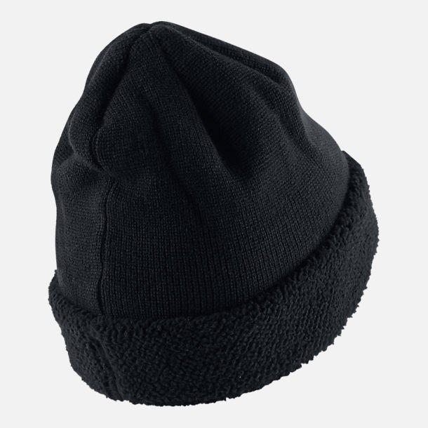 Back view of Nike Sportswear Sherpa Beanie in Black/Black
