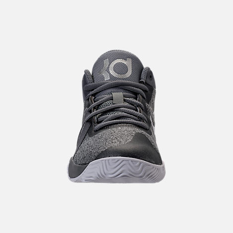 Front view of Boys' Preschool Nike KD Trey 5 V Basketball Shoes in Cool Grey/White/Wolf Grey