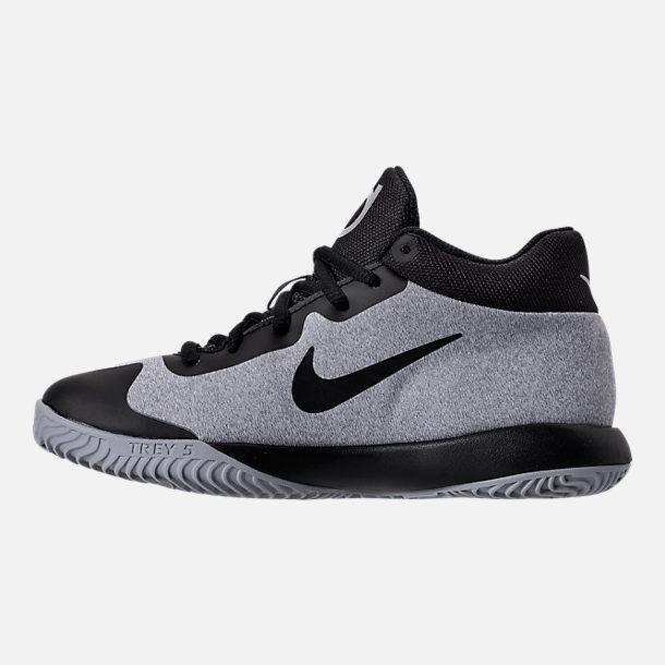 Left view of Boys' Preschool Nike KD Trey 5 V Basketball Shoes in Black/Wolf Grey