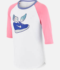 Girls' Nike Winged Raglan Three-Quarter Sleeve T-Shirt
